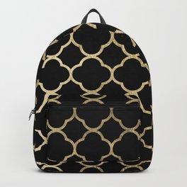 Elegant geometrical black faux gold quatrefoil Backpack