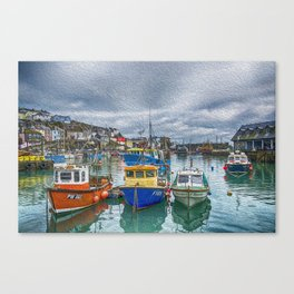 Boats in Mevagissey Harbour. Canvas Print