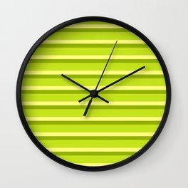 Lime Green Stripes Wall Clock