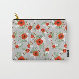 Poppy flower painted pattern floral florals prints poppies red Carry-All Pouch