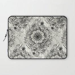 Messy Boho Floral in Charcoal and Cream  Laptop Sleeve