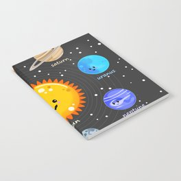 Solar system Kawaii style Notebook