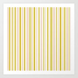 Vertical Retro Stripes Pattern in Putty, Mustard Yellow, and White Art Print