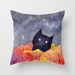 Starry Autumn Cat Watercolor Throw Pillow