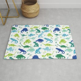 Watercolor Dinosaur Pattern White Green Blue Rug