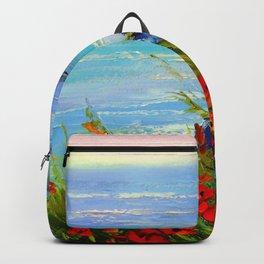 Sea ,rocks,flowers Backpack