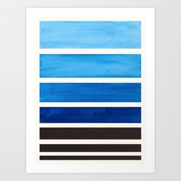 Prussian Blue Minimalist Watercolor Mid Century Staggered Stripes Rothko Color Block Geometric Art Art Print