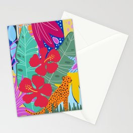 Jungle Cat Poster, Wall Art, Tropical Vibe Stationery Cards