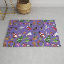 The Elements of Christmas (Pattern) (Purple) Rug