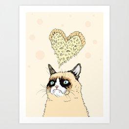 Grumpy Pizza Love Art Print