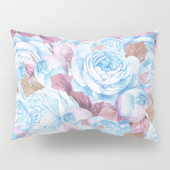 Modern blue lavender watercolor elegant rose floral Pillow Sham by Pink Water Society6