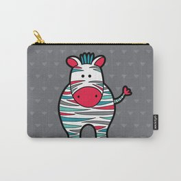 Doodle Zebra on Grey Triangle Background Carry-All Pouch