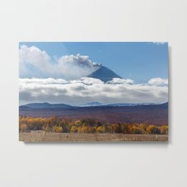 Beautiful view of explosive-effusive eruption Klyuchevskoy Volcano in Kamchatka Peninsula Metal Print