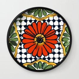 Talavera Rosa Flor Wall Clock
