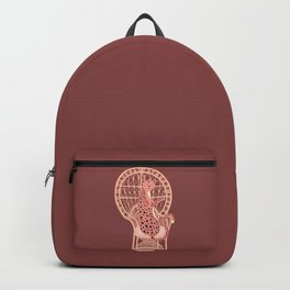 Big cat 2m with wine in peacock chair maroon Backpack