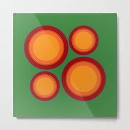 70s retro chic  - Sunspots in Green Metal Print