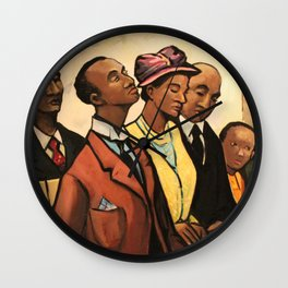 African American Portrait 'Churchgoers' by J. Andre Smith Wall Clock