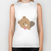 beaver Biker Tanks featuring Kawaii Beaver by SweetToothStudio