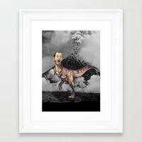 trex Framed Art Prints featuring Bill Murray TRex by Kalynn Burke
