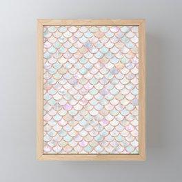 Pastel Memaid Scales Pattern Framed Mini Art Print