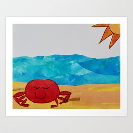 Beachy crab Art Print
