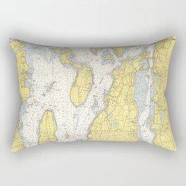Vintage Map of The Narragansett Bay (1852) Rectangular Pillow