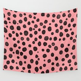 pink black dots animal print style pattern Wall Tapestry