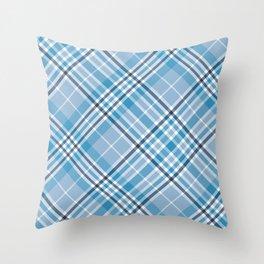Pale Blue Plaid Throw Pillow