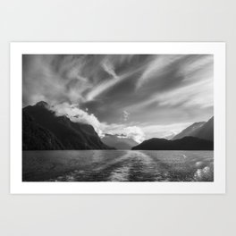 Dramatic clouds and alpine scenery at Lake Manapouri Art Print