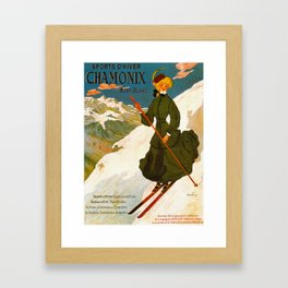Vintage Chamonix Mont Blanc France Travel Framed Art Print