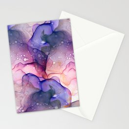 Dark Purple and Grey Flowing Abstract Painting Stationery Cards
