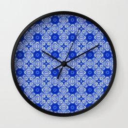 Sapphire Blue Floral Wall Clock