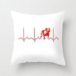 BULLDOG HEARTBEAT Throw Pillow