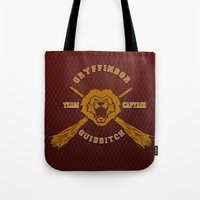 quidditch Tote Bags featuring Gryffindor quidditch team iPhone 4 4s 5 5c, ipod, ipad, pillow case, tshirt and mugs by Three Second