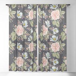 Rose and Foxglove Moody Watercolor Sheer Curtain
