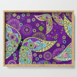 Colorful Butterflies and Flowers V5 Serving Tray