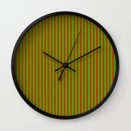 Red and Green Stripe Pattern for Christmas Wall Clock