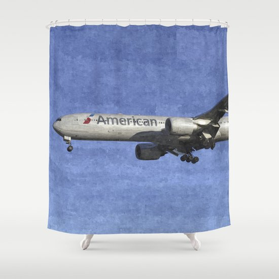 American Airlines Boeing 777 Art Shower Curtain By Davidpyatt