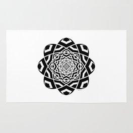 #12 Black And White Geometrical Mandala Ornament Rug