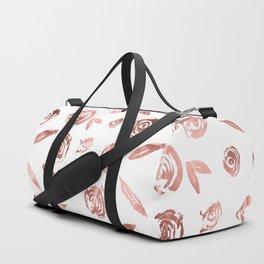Rose Gold Roses Rosette Pattern Pink on White Duffle Bag