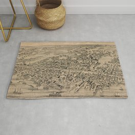 Vintage Pictorial Map of Yarmouth Nova Scotia (1889) Rug