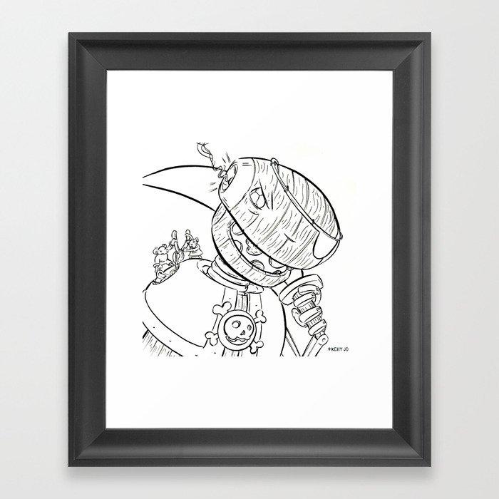 Robot Pirate - ink Framed Art Print