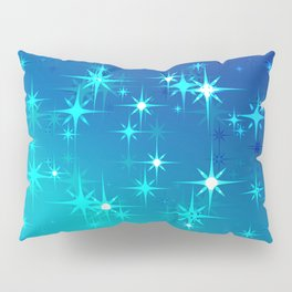 Abstract northern stars and shine on blue sky. Pillow Sham