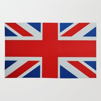 union jack Area & Throw Rugs featuring Union Jack by MICHELLE MURPHY