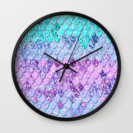 Mermaid Scales with Unicorn Girls Glitter #9 #shiny #decor #art #society6 Wall Clock