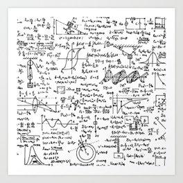 Physics Equations on Whiteboard Art Print