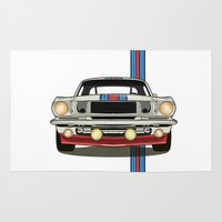 mustang Area & Throw Rugs featuring Martini Mustang by Marius Dumitrascu