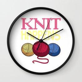 Knit Happens Crochet Darning Thread Crochetier Yarn Thread Textile Knot Hook Crochet T-shirt Design Wall Clock