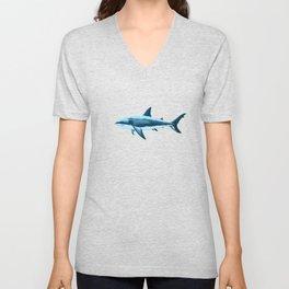 Pattern: Great White Shark  ~ Light Blue ~ (Copyright 2015) Unisex V-Neck