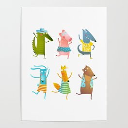 Animals dancing party fun and colorful Poster